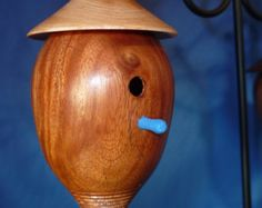 woodturned miniature Birdhouse ornament and art piece
