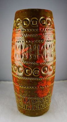 Italian Art Pottery Brown & Orange Modern Carved Vase - Bitossi Raymor (?) #Bitossi #Modern