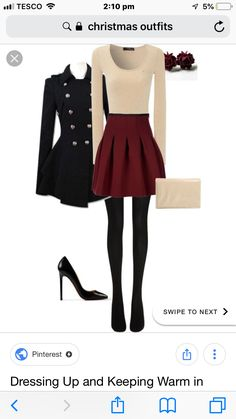 cute, dressy casual christmas day outfit🎄 Cute Christmas Outfits, Cream Tops, Pinterest Fashion, Black Leggings, Color Inspiration, Military Jacket, Winter Fashion, Dress Up, Casual
