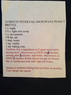 10 minute never fail microwave peanut brittle Microwave Peanut Brittle, Peanut Brittle Recipe, Brittle Recipes, Fudge Recipes, Candy Recipes, Sweet Recipes, Christmas Sweets, Christmas Cooking, Christmas Candy