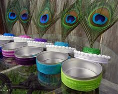 Peacock Party Favor Tins, Blue, Teal, Pink, Purple, Green or White Peacock Wedding Favors. $10.00, via Etsy.
