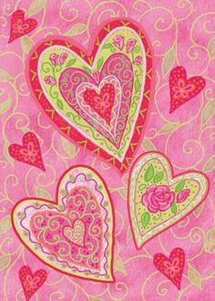 Toland Home Garden Lovely Hearts Garden Flag.  Love the colors.