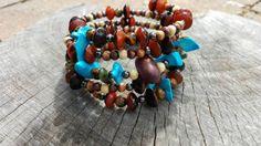 Wrap Bracelet  wood  Beaded bracelet  beaded by ButternutDesigns