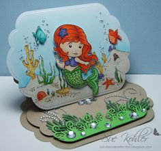 La La Land Mermaid Marci...over the top with design details...luv this little easel card...