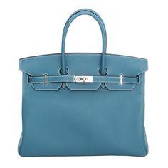 Hermes 35cm Birkin Bleu Jean Veau Swift