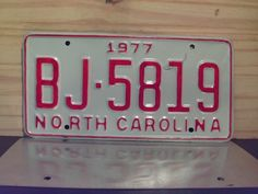 1977+North+Carolina+Rat+Rod+License+Plate+Tag+NC+#BJ-5819+YOM