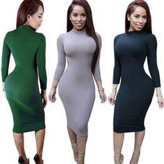 Plus Size Bodycon Dress Women Sexy Long Sleeve Black Winter Dress