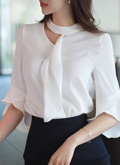 Cut Out Detail Ruffle Half Sleeve Blouse Blouse Designs Silk, Dress Neck Designs, African Fashion, Korean Fashion, Looks Chic, Mode Hijab, Online Clothing Stores, Women's Clothing, Blouse Styles