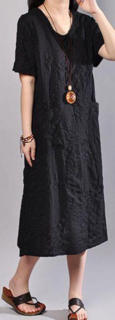 5b75492b206 stylish long cotton dress plus size Casual Summer V Neck Short Sleeve Black  Pullover Dress. Omychic Linen Dress