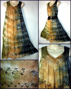 Plus Size Embroidered Umbrella Tie Dye Hippie Midi Fashion Dress b