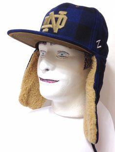 New$40 NOTRE DAME WINTER TRAPPER HAT Plaid WOOL Ear Flap Men/Women FITTED 7-3/8