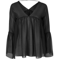 TOPSHOP **Eryn - Black Boho Bell Sleeved Blouse by WYLDR (€50) ❤ liked on Polyvore featuring tops, blouses, black, topshop, black boho top, boho blouse, flared sleeve top and black blouse