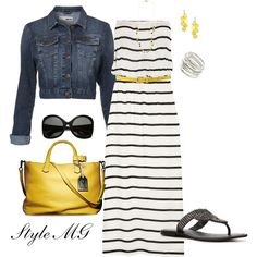 Maxi dress with cropped denim jacket and yellow accents- Polyvore. I like the yellow/stripe/jean combo a lot!