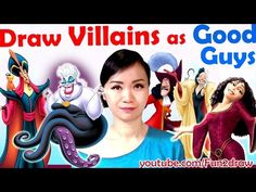 Art Challenge - Draw Villains as GOOD GUYS! - YouTube I love the Ursula drawing