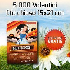 5000 Volantini f.to A5 patinata lucida 135 gr  59.90 euro SPEDIZIONE GRATIS!