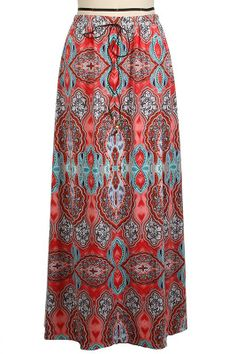 MEDALLION PRINT WOVEN WIDE MAXI SKIRT W/ LEATHER STRING FRT