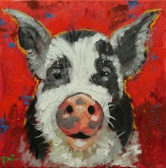 Pig #54 Drunken Cows - Whimsical Fine Art by Roz