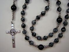 Boy's Child's Rosary Catholic  Genuine Snow Flake Obsidian and Black Agate Onyx Gemstone Beads  el nino Rosario Free Shipping USA by TheGemBeadLink on Etsy