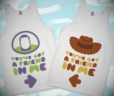 Best friend t-shirts Oh my God, you can wear them with your BFF, and go to Pixar land, and meet Buzz and Woody, and cry, and oh my God, I need a girl best friend, I need someone to wear this with, kill me.