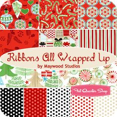 Ribbons All Wrapped Up Fat Quarter Bundle Maywood Studios Fabric