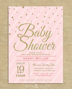 Blush Pink & Gold Glitter Baby Shower Invitation Confetti Stripes Baby Girl Printable Digital Download