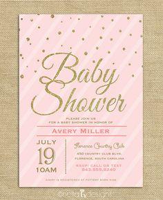 Blush pink gold baby shower invitation its a girl glitter pastel blush pink gold glitter baby shower invitation confetti stripes baby girl printable digital download filmwisefo
