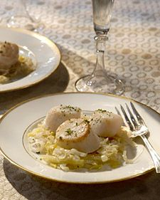 Scallops with Leeks in Champagne Sauce
