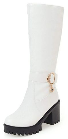 5865d9b5742 Mofri Women s Trendy Rhinestone Pendant Belt Round Toe High Block Heel  Platform Pull on Slouchy Under the Knee Riding Boots -- Check out the image  by ...