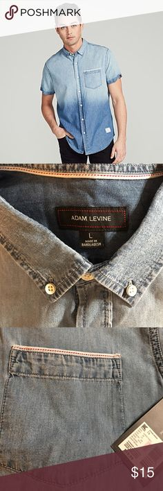 "Adam Levine Men's Ombre Denim Shirt - Light Blue A best-selling Adam Levine Collection men's style now available in short sleeves, this denim shirt is thoughtfully constructed and carefully washed. Includes single chest pocket, white enamel buttons, a Govt. issue paper patch, and signature selvage tape at pocket and inside neck band. Modern fit - from armpit to armpit 24"", from shoulder to hem 29"". Ombre effect Button up front Signature Adam Levine Collection details Adam Levine Shirts…"