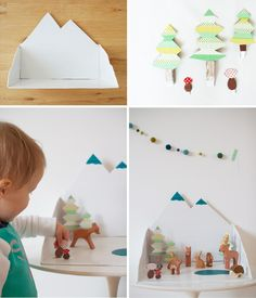 If you have all these extra materials lying around the house like duct tape and cardboard boxes, try this out. Since winter is here, the snowy mountain scene fits perfectly. Click here to see how Mereta from One More Mushroom...