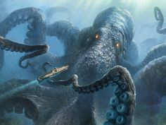 Kraken. Possibly the largest of all mythical creatures. Shaped like a giant squid or octopus and lives deep in the ocean. Its ink can wipe all supernatural memories from your brain. Only specially trained deep-sea trackers are qualified to search for creatures like this. Mythological Creatures, Fantasy Creatures, Mythical Creatures, Sea Creatures, Kraken Monster, Monster Art, Kraken Art, Giant Squid, Creepy