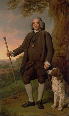 Thomas Browne & his Spaniel, Garter Principal King of Arms, the second son of John Browne of Ashbourne, Derbyshire, became Bluemantle Pursuivant in Lancaster Herald in Norroy and Ulster King of Arms in and Garter in 1774 until his death.