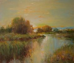 "Saatchi Art Artist Vyrvich Valentin; Painting, ""Evening on the estuary"" #art"