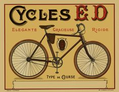 Cycles Ed Vintage Bicycle Poster cycling motivation, cycling posters, cycling, cycling quotes, classic cycling