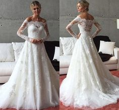 Long Sleeves Wedding Dress Off Shoulder Bridal Gown Custom Size 2 4 6 8 10 12