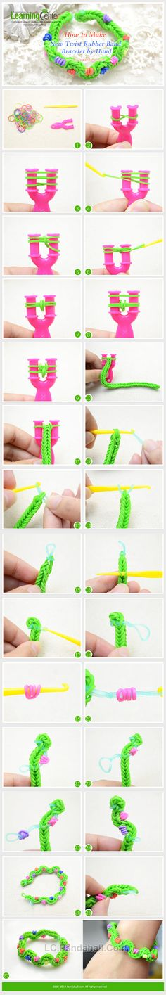 There are lots of new rubber band bracelet designs; here I will teach you make twist rubber band bracelets. Rainbow Loom Tutorials, Rainbow Loom Patterns, Rainbow Loom Creations, Rainbow Loom Bands, Rainbow Loom Charms, Rainbow Loom Bracelets, Loom Bands Designs, Loom Band Patterns, Loom Bracelet Patterns
