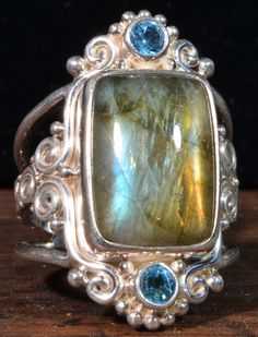 Sajen Labradorite and London Blue Topaz Ring with Extendable Ring Size