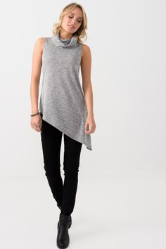 The Modern Grunge Cowl by Suzy Shier Neck Asymmetrical Top