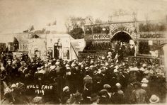 Manders Grand Star Menagerie shown far left.  The canvas awning covering the animal wagons can be seen at the back.  1919 Hull Fair.