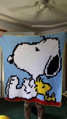 Crochet Snoopy and Woodstock blanket throw afghan by KnotsInYarn