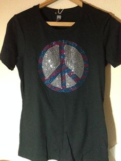 SALE- Ready to ship! This listing is for the exact shirt purchased. Get your Mega-Bling on with this rhinestone peace sign shirt in size: MEDIUM.
