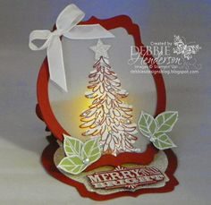 Merry Monday #114. Stampin Up Evergreen. Easel Card Fold  a Battery Operated Tea Light. Debbie Henderson, Debbie's Designs.