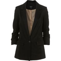 Ruched Sleeve Blazer (1.865 ARS) ❤ liked on Polyvore featuring outerwear, jackets, blazers, tops, women, 3/4 sleeve blazer, blazer jacket, ruched sleeve blazer, three quarter sleeve blazer and ruched-sleeve blazer