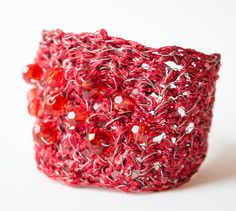 Handmade wire crochet featured with Red crystals Bracelet Light beautiful by UnikacreazioniShop on Etsy