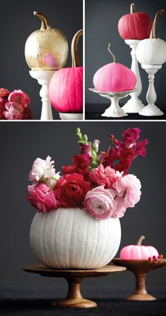 Pink Pumpkins and flowers. Halloween 'Pink-O-Ween' Theme Party Decoratio Pink Pumpkins and flowers. Halloween 'Pink-O-Ween' Theme Party Decoratio. Pink Pumpkins and flowers. Halloween 'Pink-O-Ween' Theme Party Decorations & Ideas Pink Pumpkins, Painted Pumpkins, Fall Pumpkins, Thanksgiving Decorations, Halloween Decorations, Fall Decorations, Fall Inspiration, Holiday Fun, Holiday Decor