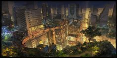 civilization fiction, city night by molybdenumgp03