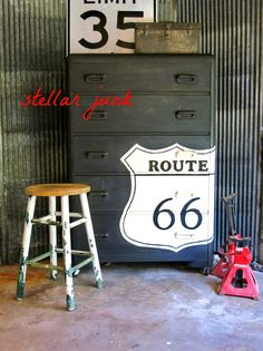 This would be cute in Parker's room. Miss Mustard Seed's Milk Paint in Typewriter. Waterfall dresser with Route 66 emblem. Hand Painted Furniture, Paint Furniture, Furniture Making, Furniture Makeover, Route 66 Decor, Waterfall Dresser, Shabby, Milk Paint, Furniture Restoration