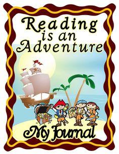 "Reading Journal in SPANISH in fun pirate kids on treasure island design: ""Leyendo es una Aventura"" (Reading is an adventure) 100 Days Of School, School Fun, Back To School, Reading Journals, Pirate Kids, School Signs, Island Design, Treasure Island, 100th Day"