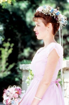Pretty pink, chiffon gown, cinched at the waist w/ a mauve ribbon and topped off by a flower crown, from the iconic teen film by John Hughes, Sixteen Candles