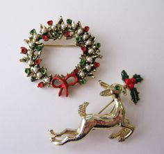 Vintage Christmas Pins, A Deer and a Wreath